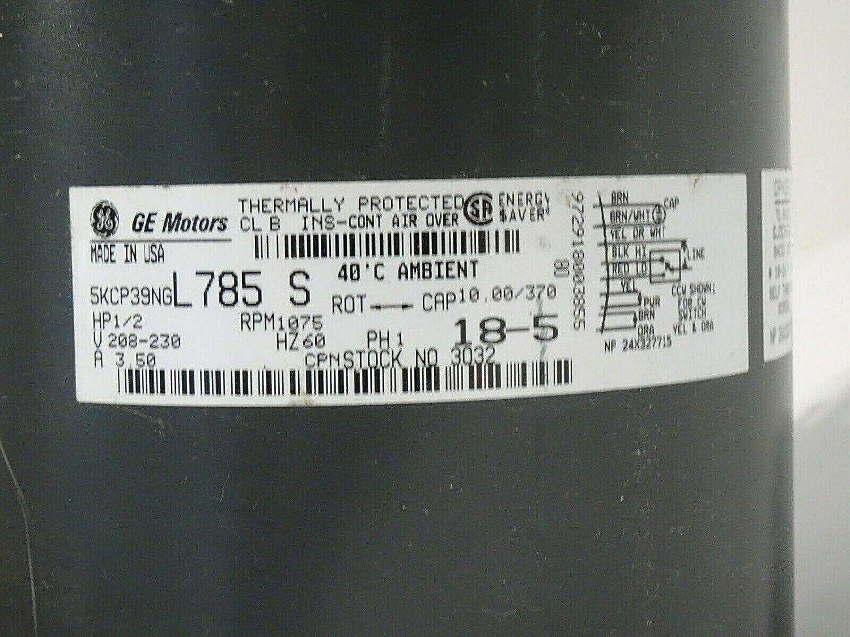 5KCP39NGL785S New GE Motors 5KCP39NGL785 S Motor 1//2 H.P 1075 R.P.M