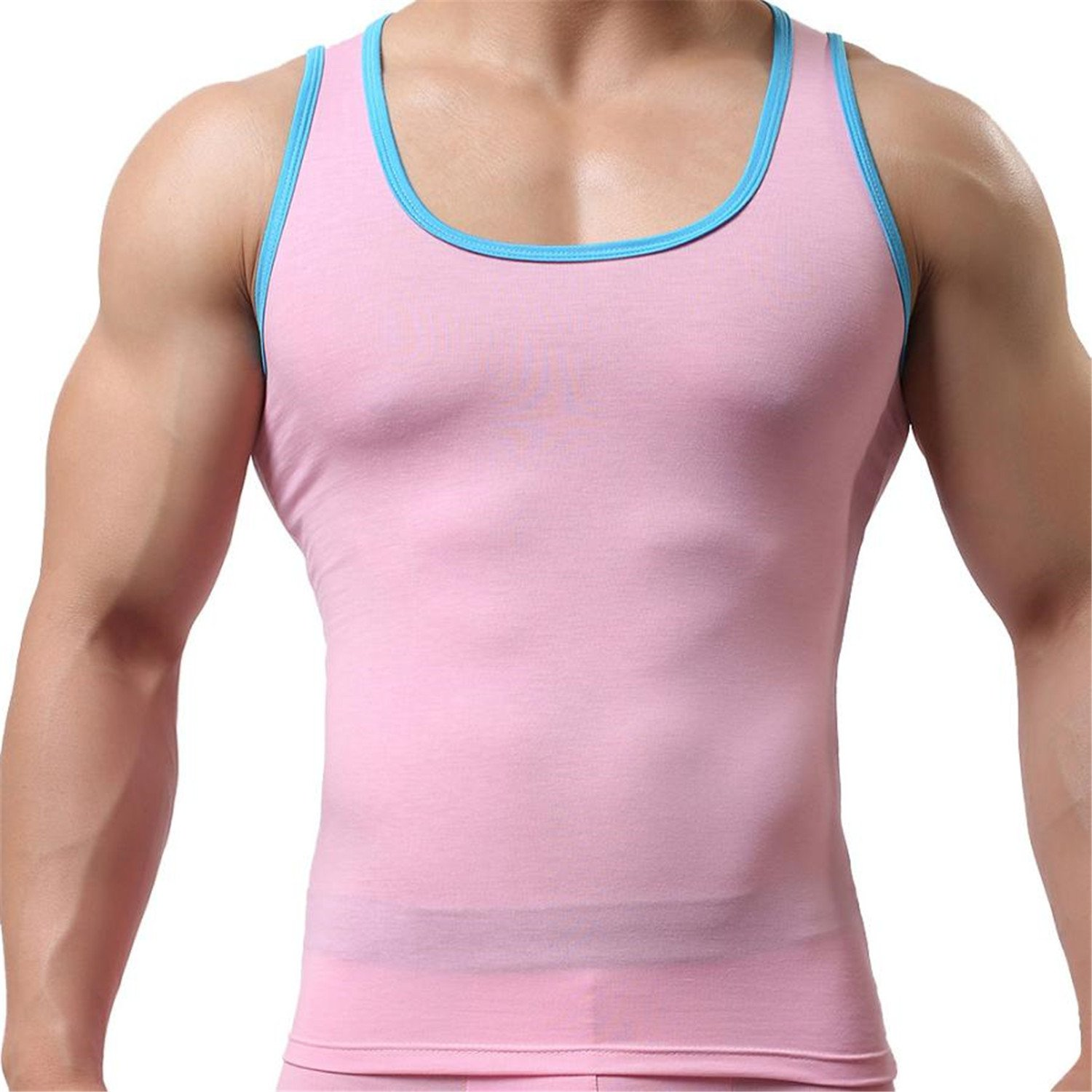 29f6303804 Thadensama 100% Cotton O-Neck Tank Tops Men Summer Male Sleeveless Vest  Square Collar New Casual Gilet Elastic Tops Muscle Summer Tees Pink M:  Amazon.ca: ...