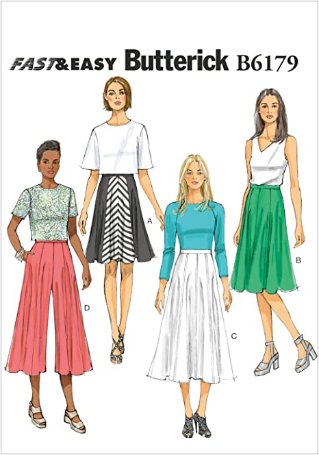 E5 Butterick Patterns B6179E50 Misses Skirt and Culottes Sewing Template 14-16-18-20-22