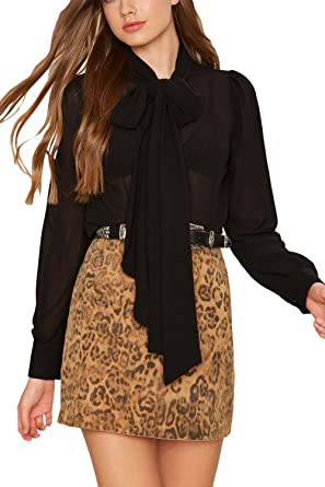 a3d1737d25654 Women Elegant Office Blouse Shirts Tops Plain Long Sleeve Pussy Bow Work Top  Black XS