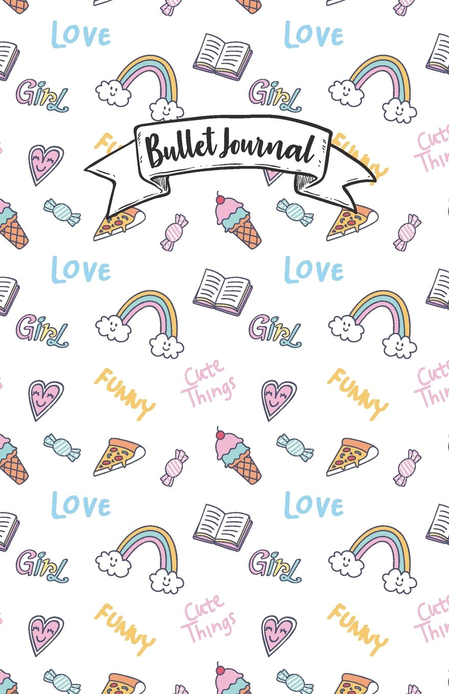 "Download Bullet Journal: Pink cute candy rainbow doodle color pattern : Notebook, Bullet Journal Dotted Grid, 100 pages (5.5"" x 8.5"") pdf epub"