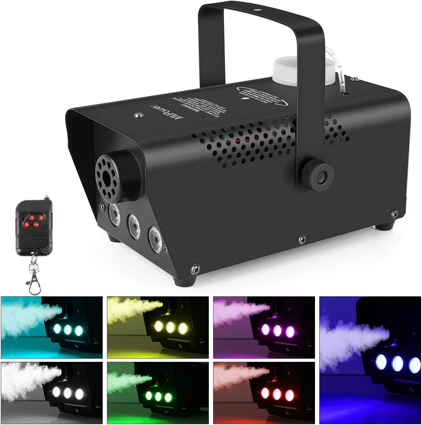 MVPOWER 500 W Mini Máquinas de Humo , Máquinas de Humo con Control Remoto [nalámbrico y Lulz de Colores, Máquina de Humo para Fiestas, Bodas, Fiestas en el Teatro y Efectos de DJ de Club, 350 ml