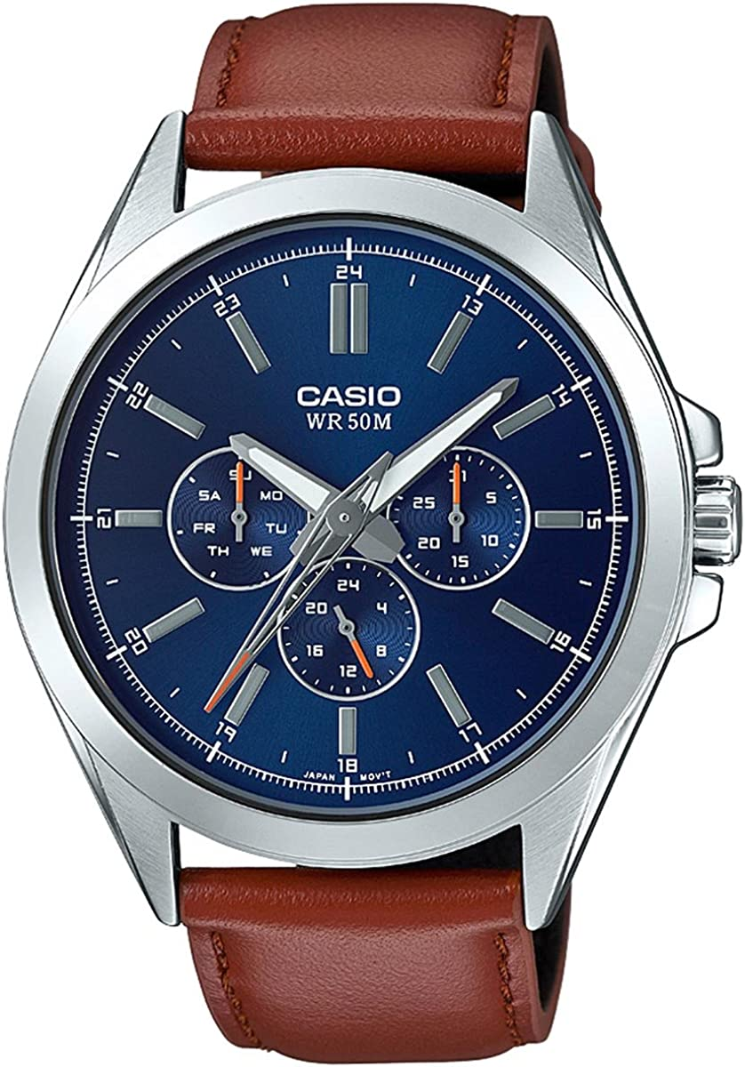 Casio Men s Classic Stainless Steel Quartz Watch with Leather Strap, Brown, 22 Model MTP-SW300L-2AVCF