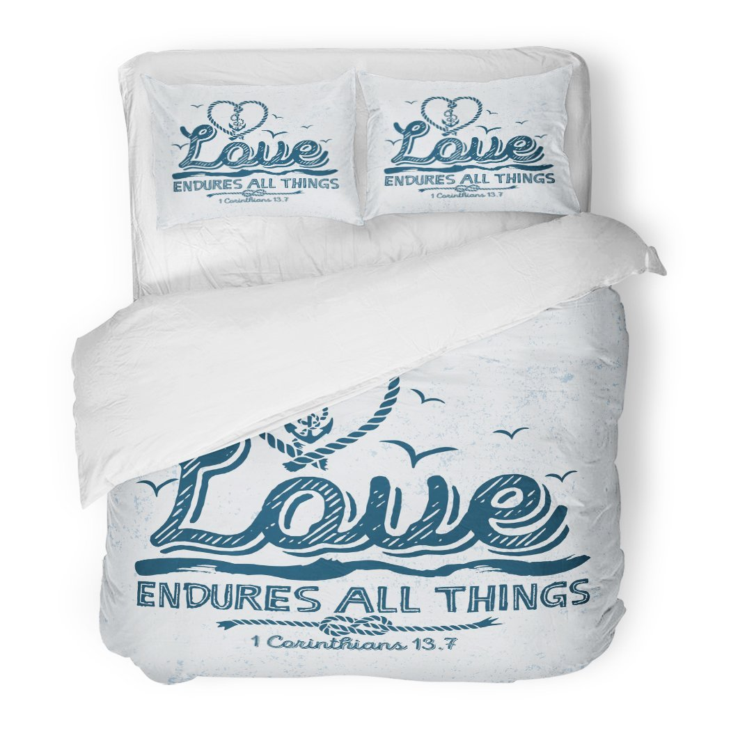 SanChic Duvet Cover Set Church Biblical Christian Typographic Love Endures All Things Corinthians 13 7 God Decorative Bedding Set Pillow Sham Twin Size