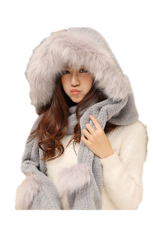 Women Faux Fur Fleece Hooded Scarf Gloves Pocket Earflap Hat Warmer Grey One Size