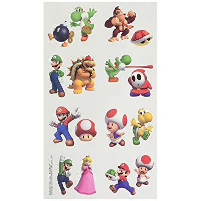 amscan Super Mario Brothers Birthday Party Temporary Tattoo Favors, Multicolor, 2 x 1 3/4 (Two-Pack): Toys & Games