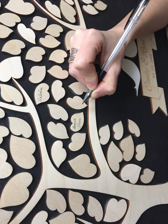 Promini Livre dor de Mariage 3D personnalis/é 40 x 50 cm Bois Dense Alternative Arbre de Vie C/œurs D/écoration de Mariage Unique Livre dor en Bois Cadeau de Mariage