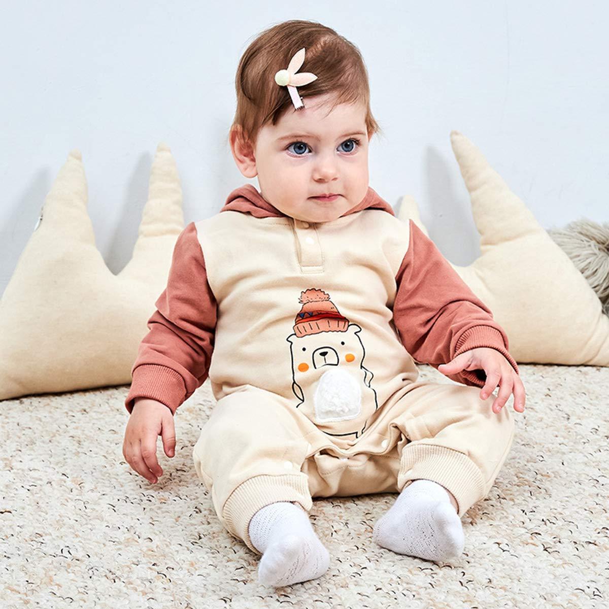 famuka Unisex Baby Hooded Romper Cartoon Bears Long Sleeve Onesie Jumpsuit
