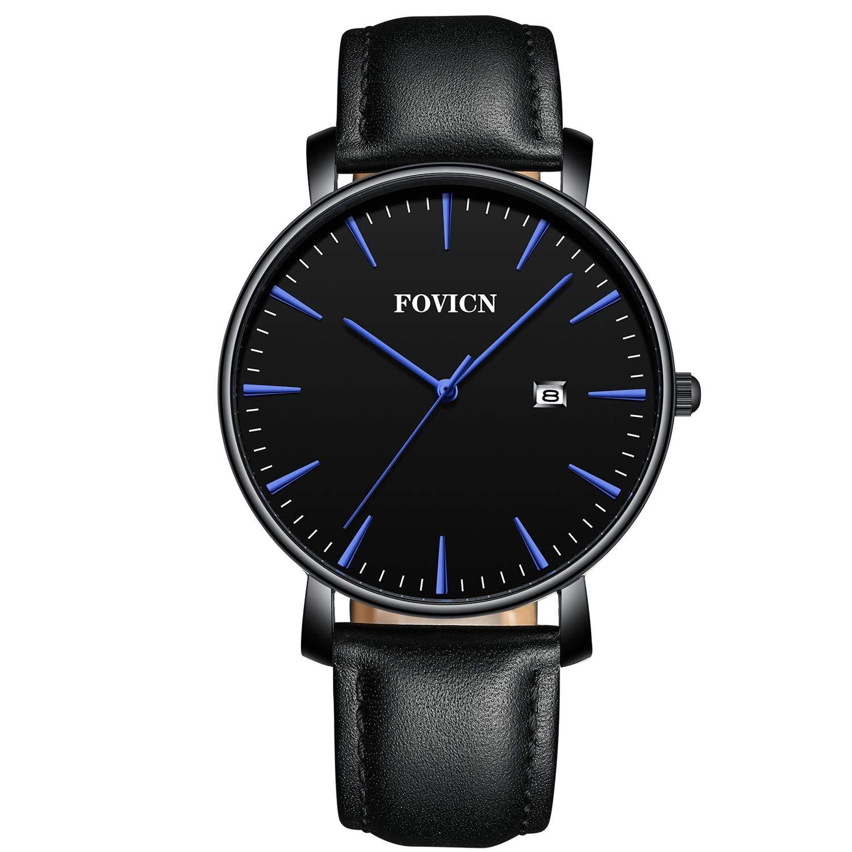 Reloj de Pulsera analógico de Cuarzo para Hombre con Correa de Cuero, Fecha, Impermeable, de Moda, Deportivo, Reloj de Pulsera para Hombre