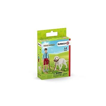 Schleich- Figura chico paseando perro Labrador Retriever, 7,50 cm.: Amazon.es: Juguetes y juegos