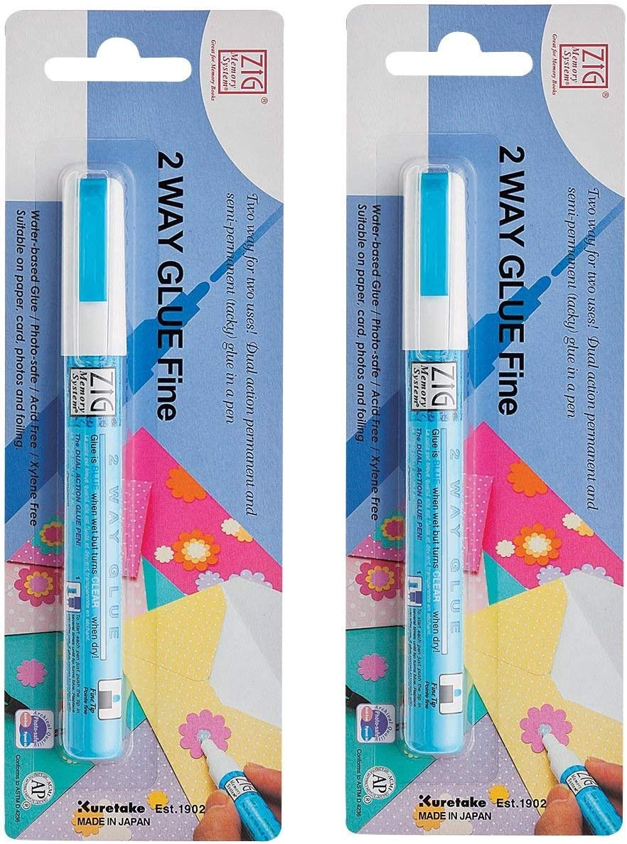 Zig Memory System Two Way Glue Pen, Carded, Fine Tip wo ack