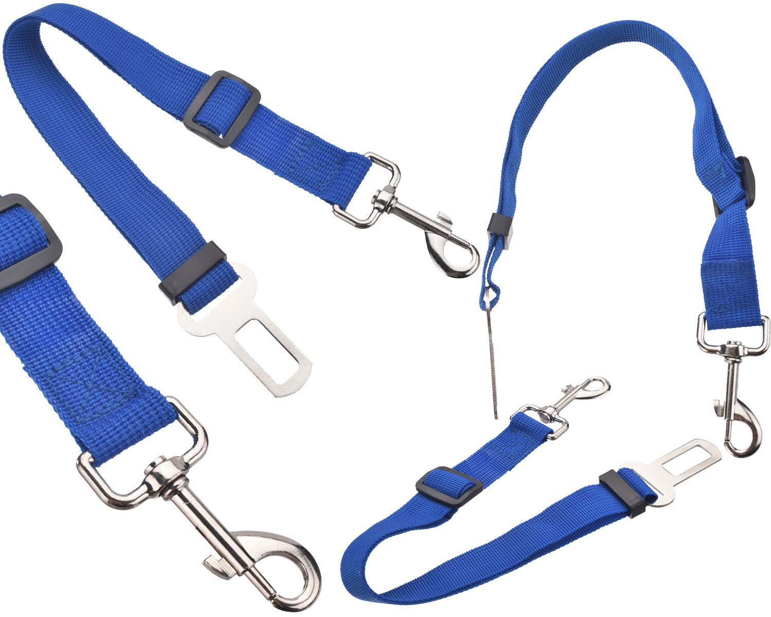 BisLinks Pet Cane Car Seat Belt Safety Vehicle Regolabile 42cm to 68cm Harnesses Condurre Attachment Moderazione Strap Clip Blu