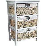 Home Vida Maize 3-Drawer Bathroom/Bedroom Storage Unit, Wood, White