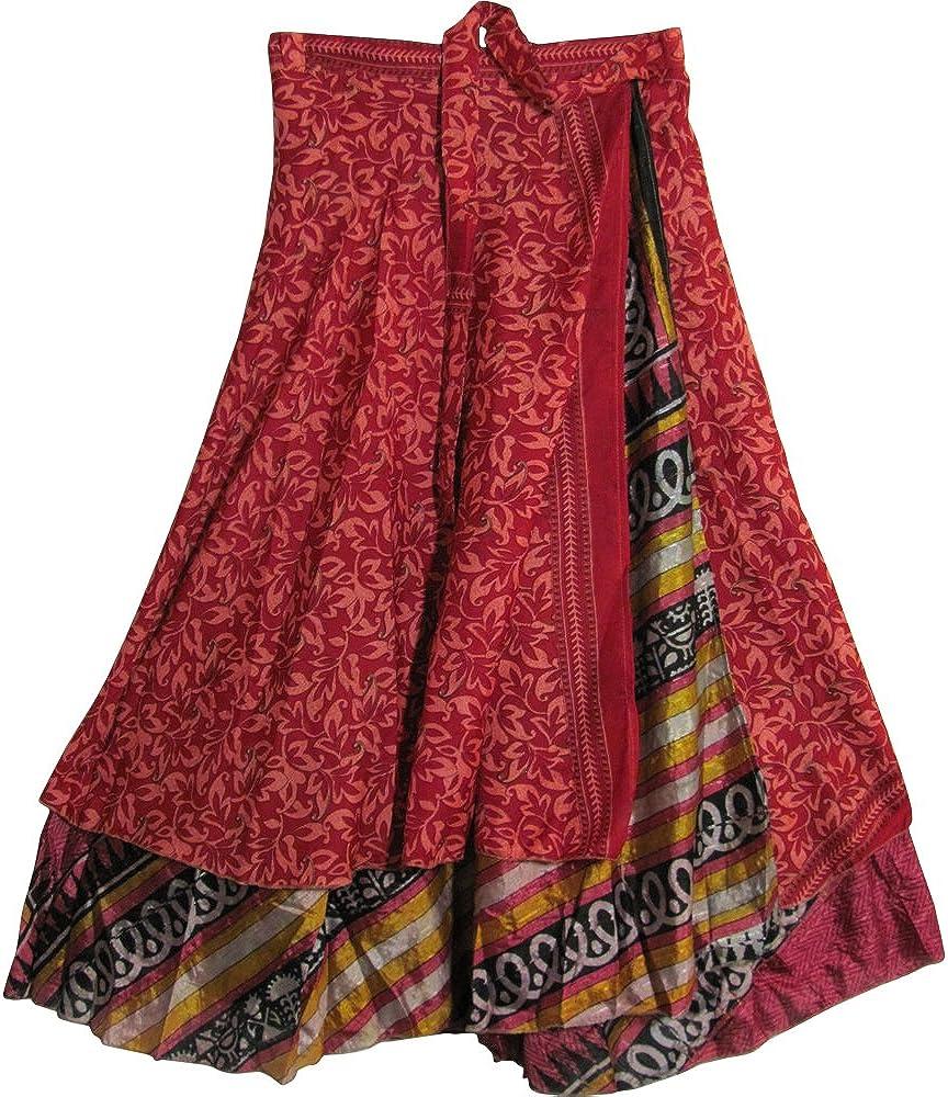 JK Indian Magic Bohemian Gypsy Silk Reversible Wrap-Around Long Skirt