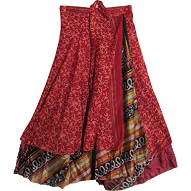 0a927d4c872 JK Indian Magic Bohemian Gypsy Silk Reversible Wrap-Around Long Skirt 100
