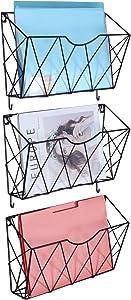 KEEGH Wall File Folder Holder 3 Pockets Hanging Wall File Baskets Organizer Mail Holder Metal Office Magazine Rack with Hooks