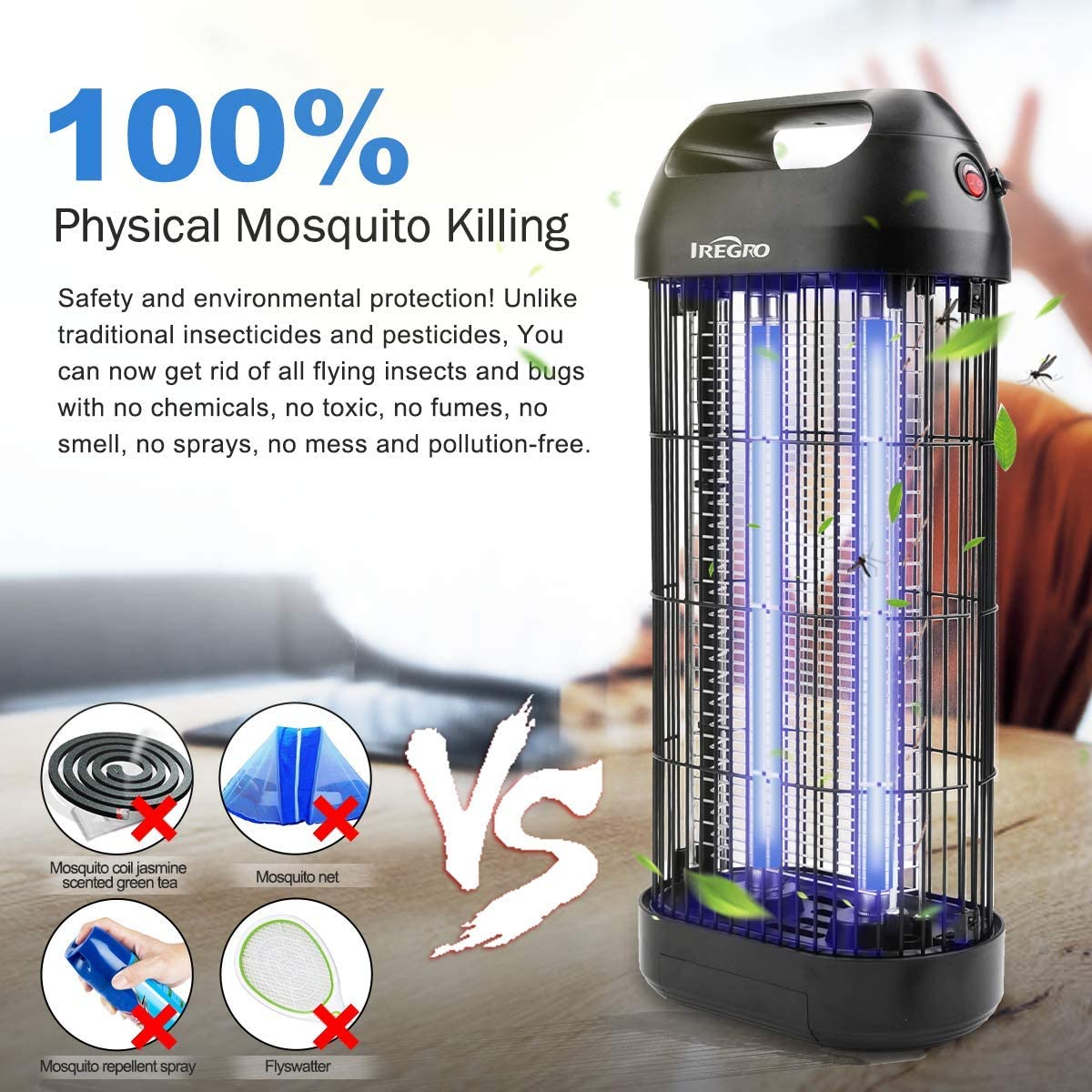 IREGRO L/ámpara Antimosquitos UV Mata Mosquitos Electrico Mosquitos Mosquitos Killer Interior Enchufe con 16 Vatios para Cocina Sala de Estar Dormitorio Interior y habitaci/ón Infantil (Large)
