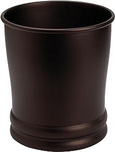 """iDesign Olivia Metal Wastebasket, Trash Can for Bathroom, Bedroom, Kitchen, Home Office, Dorm, College, 9"""" x 9"""" x 10"""", Set of 2 - Bronze"""