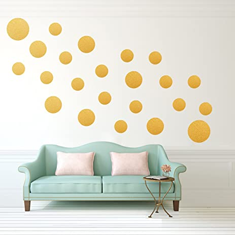 Gold SHINY Polka Dot Wall Decals(23 Big And Small Dots) ,Metallic Polka