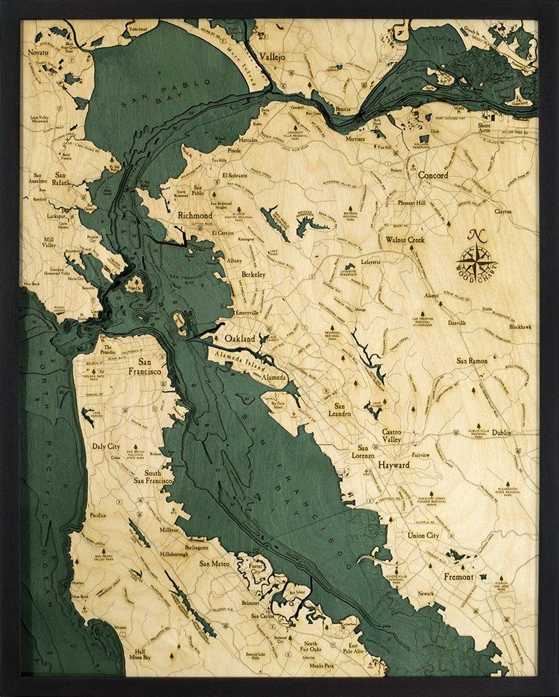 サンフランシスコ、カリフォルニア3 - D Nautical木製チャート X