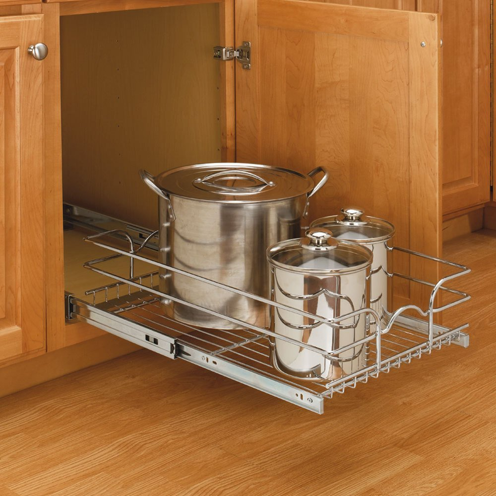 Base Cabinet Pullout Single Wire Basket Sink & Base Accessories-5WB1-0918-CR - 8-3/8W x 18D x 7H - Chrome Rev-A-Shelf