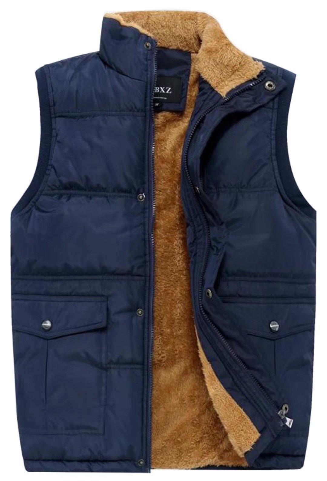 HOWON Men's Fleece Outerwear Vest (Gift Idea) Blue US XL/Asia 5XL
