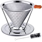 shiYsRL Honeycombed Stainless Steel Coffee Filter Reusable Pour Over Dripper Brush Cup Silver