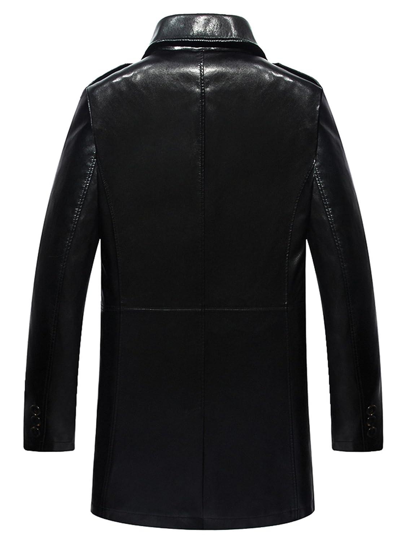 Herren Mode Geschäft Leder Revers Leder Wind Graben Mantel: Amazon.de:  Bekleidung