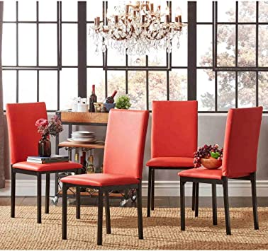 Amazon Com Inspire Q Darcy Metal Upholstered Dining Chair Set Of 4 By Bold Parson Chairs Red Upholstered Faux Leather Polyurethane Chairs
