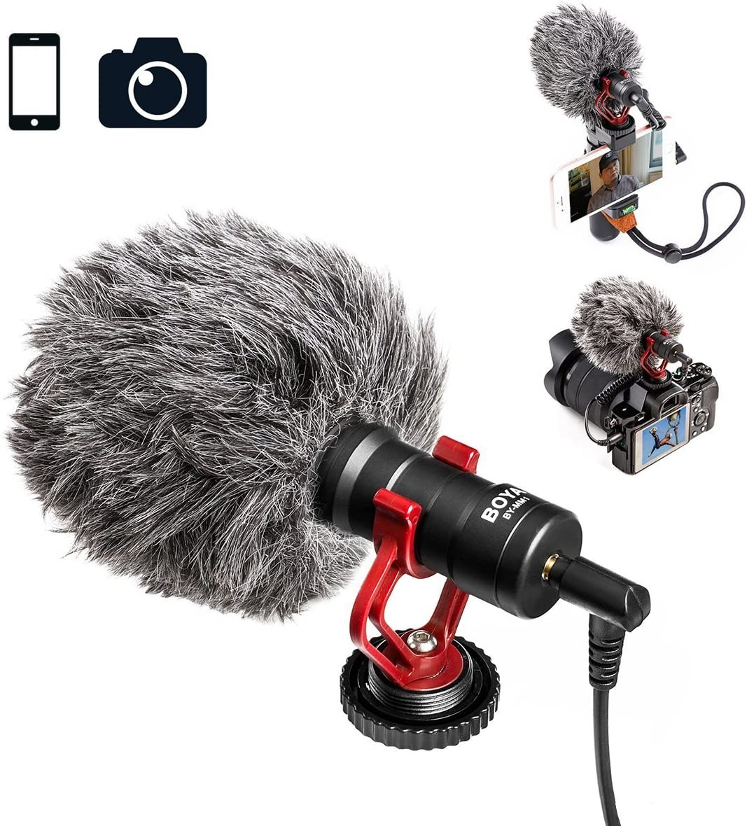 Universal Video Microphone with Shock Mount SZBYKJ BOYA by-MM1 Microphone Professional for Video Microphone Livestream Recording Microphone