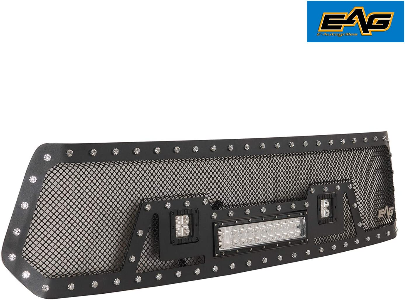 EAG Rivet Stainless Steel Wire Mesh Grille With LED Lights Fit for 14-18 Toyota Tundra