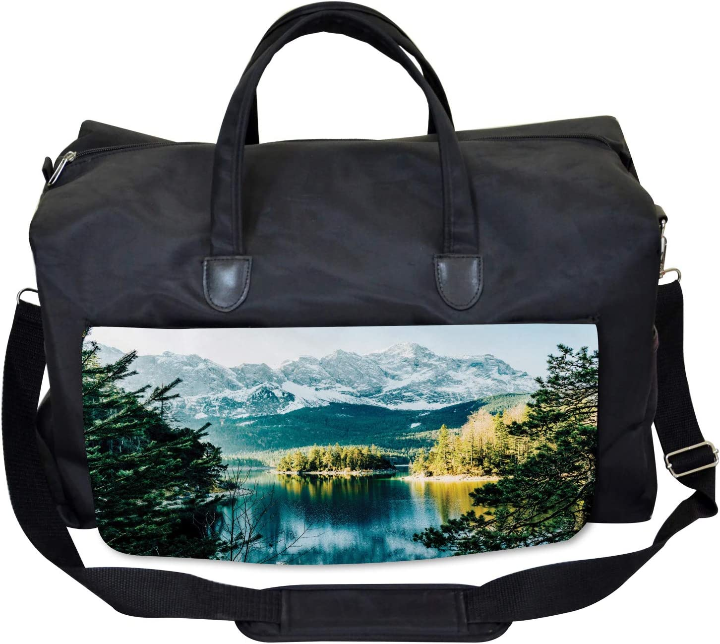 Mountain Frozen Lake Large Weekender Carry-on Ambesonne Winter Gym Bag