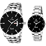 Cubia Quartz Movement Analogue/Day and Date Black Dial Couple's Watch