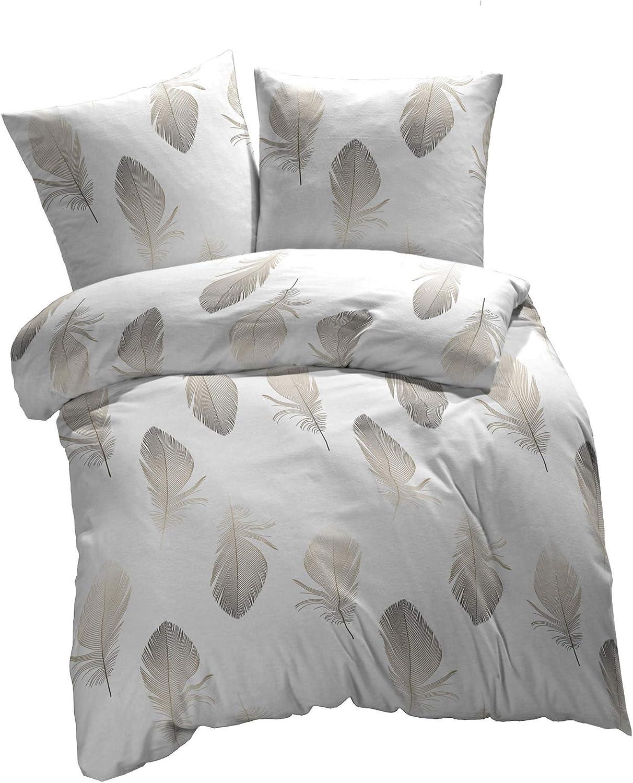 Bettwäsche 135x200cm Reißverschluß Muster Federn Braun 100/% Polyester