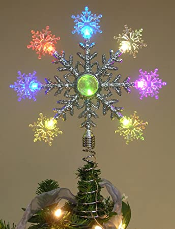 tree topper color changing battery operated led snowflake christmas tree topper holiday christmas decorations