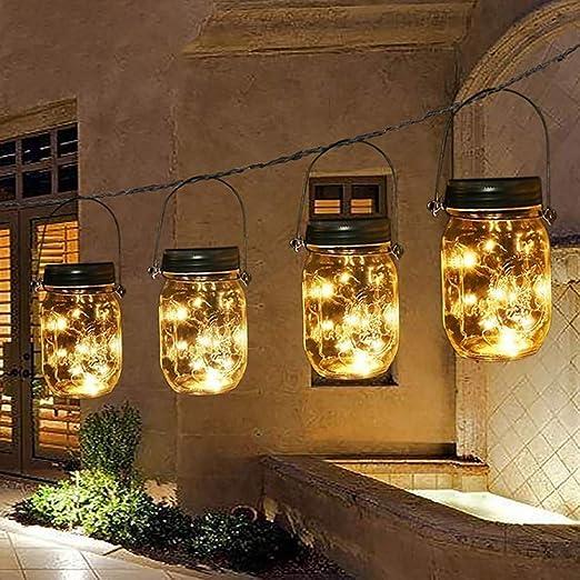 Solar tarro lámpara impermeable hada colgante Lámpara jardín interior/ exterior cadena luces para valla, patio, yarda, pasarela, camino de entrada, escaleras, decoraciones de iluminación de Navidad: Amazon.es: Hogar