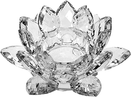 OwnMy 4.5 Inch Crystal Lotus Candle Tealight Holder 4.5 Inch Clear Glass Candle Lamps Holder Night Light Candlestick with Gift Box for Altar windowsill Home Decor Christmas Wedding Party