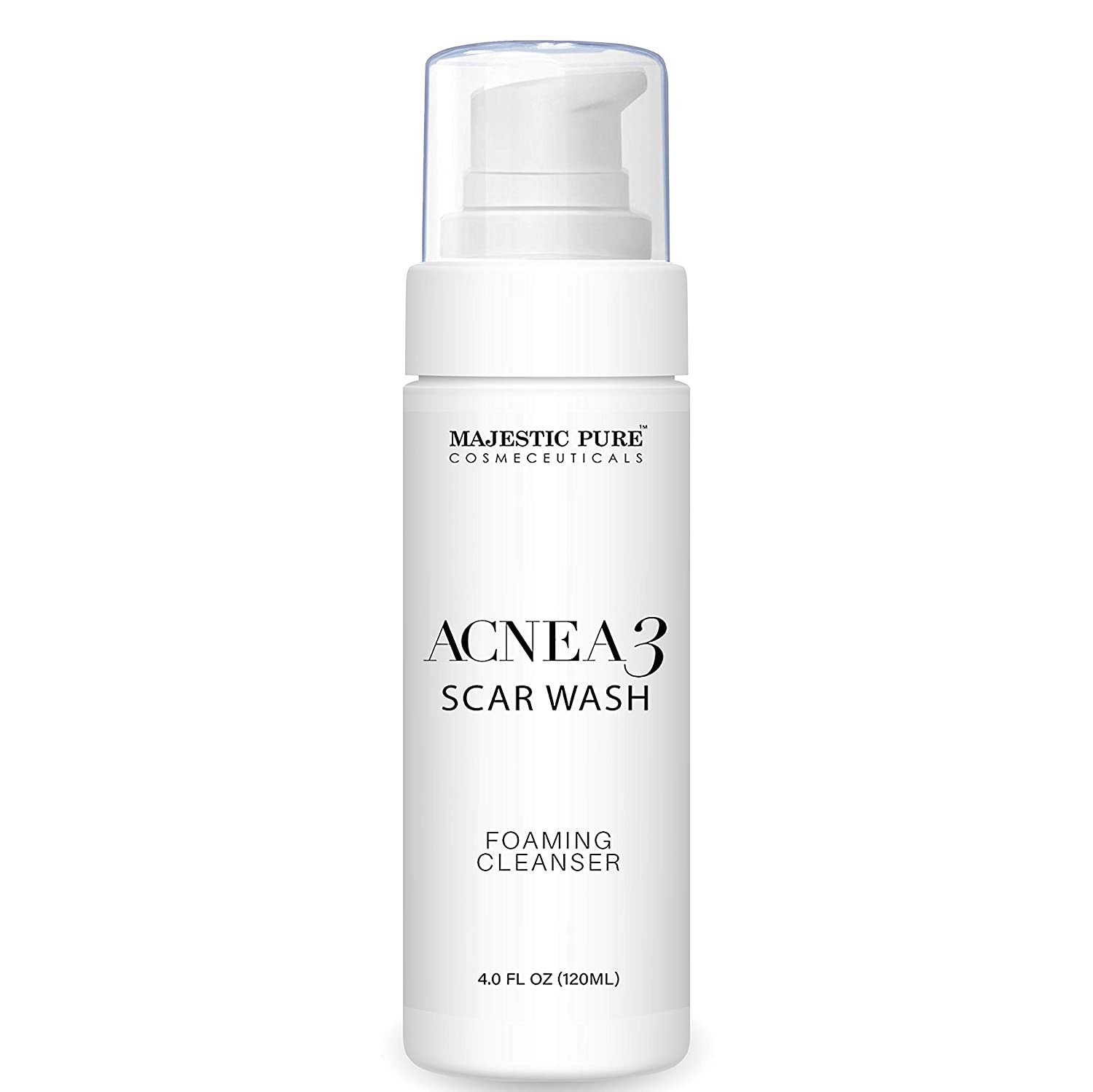 MAJESTIC PURE Acnea3 Scar Acne Wash Foaming Facial Cleanser - Soothes Blemishes and Clears Pores, Made with Pure Peppermint and Tea Tree Essential Oils - for All Skin Types, 4 fl oz
