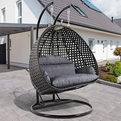 Superieur Deluxe Swing Chair Outdoor Furniture PE Rattan Wicker Hanging Hammock With  Stand, Cushioned Loveseat Chaise