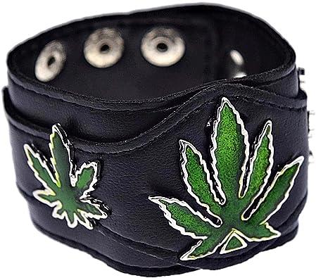 Bling Cartel Green Marijuana Leaves Bracelet Three Pot Weed Leaf Cannabis Black Faux Leather Wide Cuff