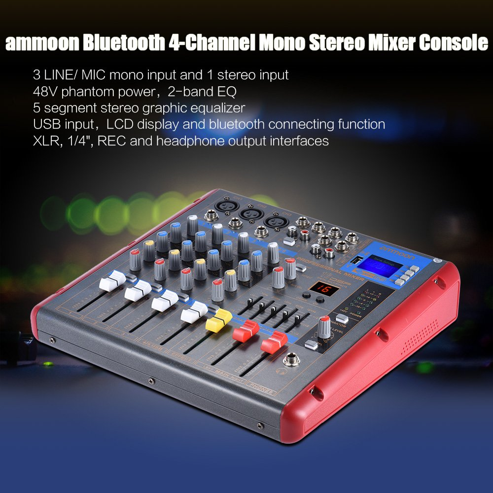 Ammoon Bluetooth 4 Channel Mixer Mixing Console 2 Band Eq With 48v Stereo For Microphone Channels Phantom Power Usb Interface Musical Instruments Stage Studio