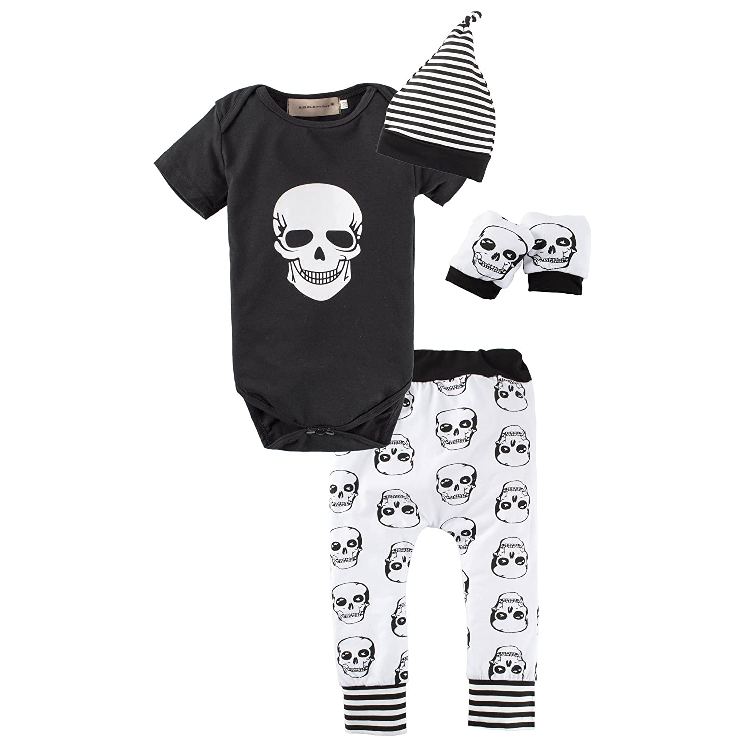 BIG ELEPHANT Halloween Baby Boys'4 Pieces Skull Head Short Sleeve Romper Pant Clothing Set with Hat L16