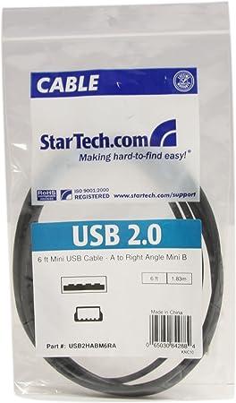 A to Right Angle Mini B 6 ft. StarTech.com USB2HABM6RA Mini USB Cable 1,8m