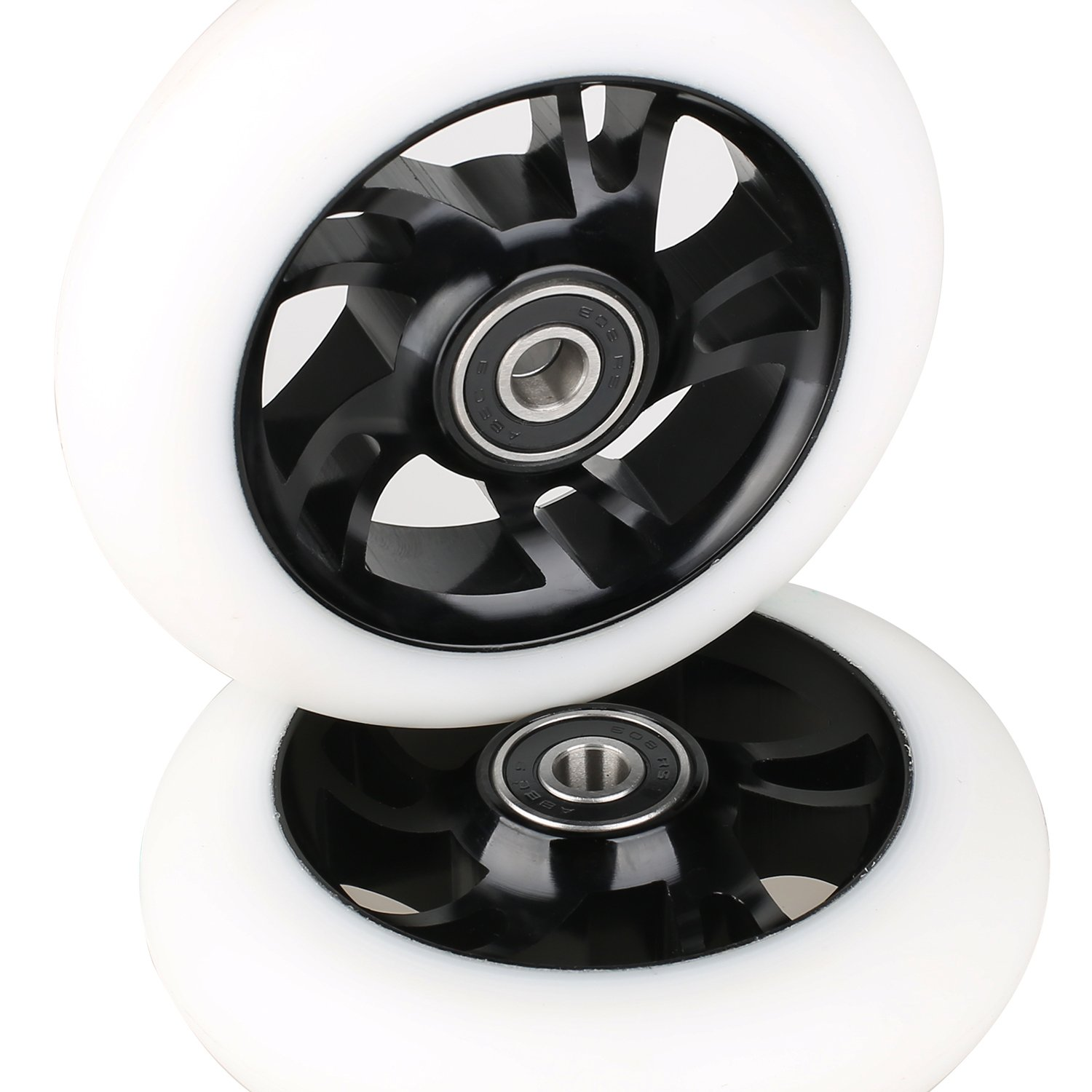 Kutrick 2pcs 110mm Pro Scooter Wheels with 2pcs Pro Scooter Pegs Kit