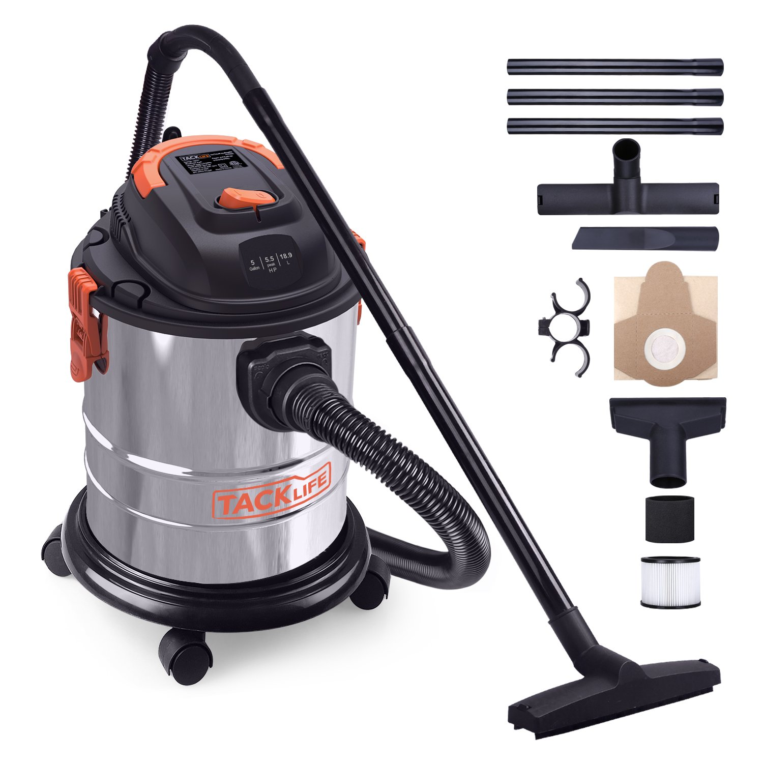 Wet Dry Vacuum, 5 Gallon, 5.5 Peak HP, 1000W Stainless Steel Wet/Dry VAC, Over 320 Square Feet Clean Range, 4-Layer Filtration System, Anti-Static Chain, All Accessories Included