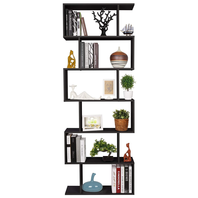 Homfa Bookshelf 6-Tier Bookcase S Shaped Free Standing Display Storage Shelves Decor Furniture for Living Room Home Office, Black