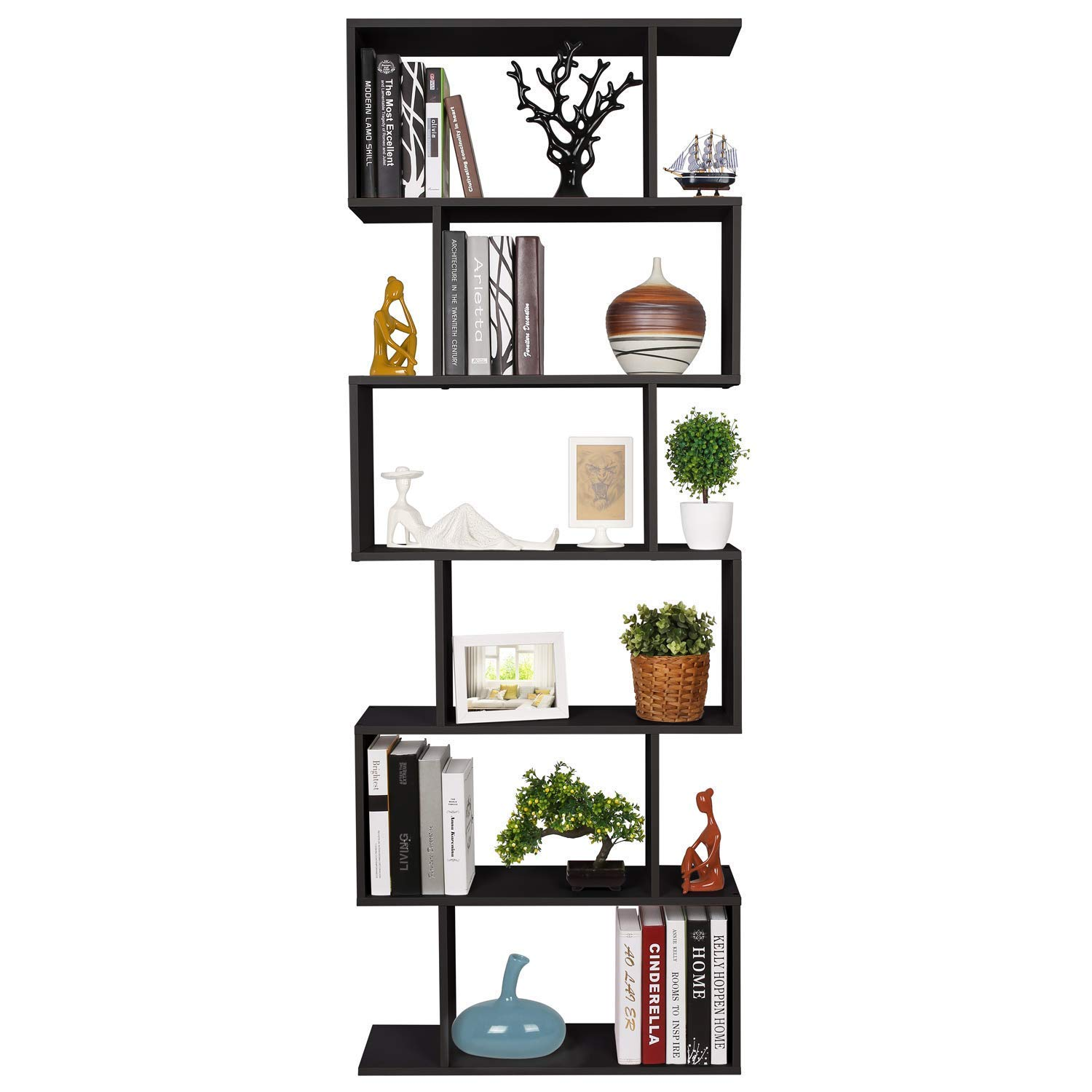 Homfa Bookshelf 6-Tier Bookcase S Shaped Free Standing Display Storage Shelves Decor Furniture for Living Room Home Office, Black by Homfa