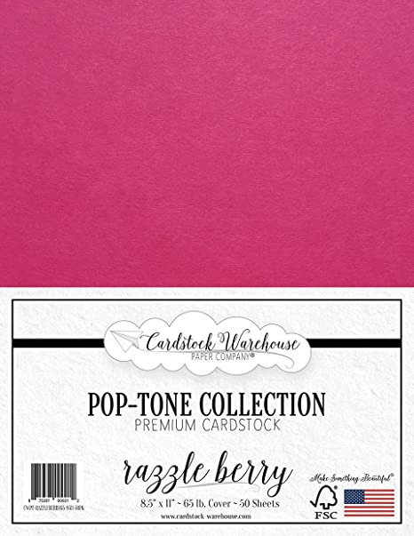 65lb Cover Cardstock Paper 25 Sheets Bright Pink 8.5 x 11 inch