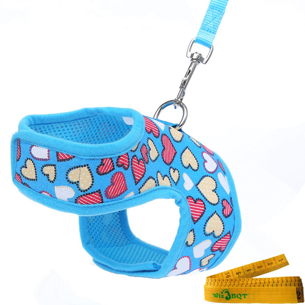 Bright Mesh Heart Printed Dog Cat Pet Vest Harness and Matching Leash Set in Blue for TINY NEWBORN Dogs Cats (7.9''-9.8''---Chest Girth)