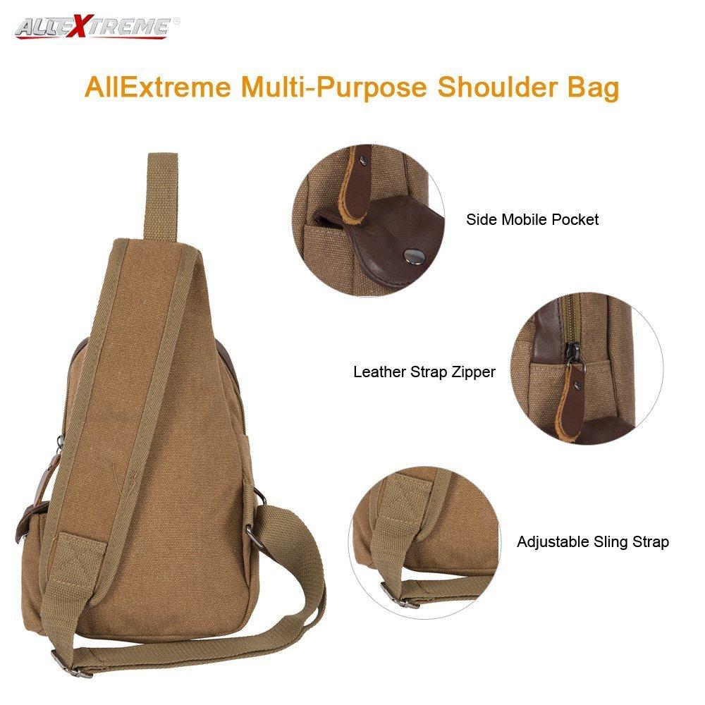 a9a759969bd0 AllExtreme Canvas Sling Bag Canvas Chest Shoulder Backpack Water Resistant  Vintage Carry Cross Body Messenger Bag for Men Women Kids Perfect for Gym  Travel ...